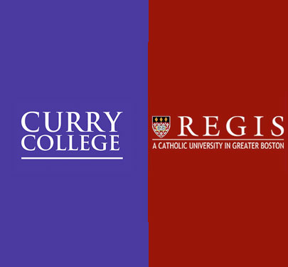 Curry College and Regis College logos