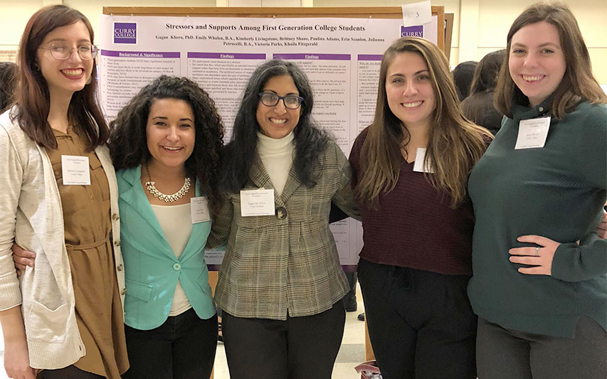 Curry College Psychology students, faculty and alumna pose for a photo at the 2018 NEPA Conference