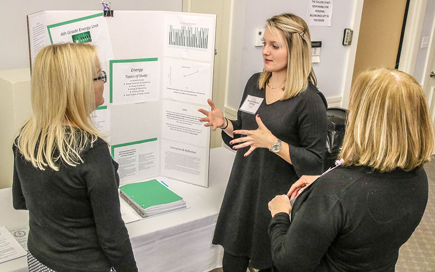 A Curry College M.Ed. student presents analyses of their students' growth and learning during her practicum