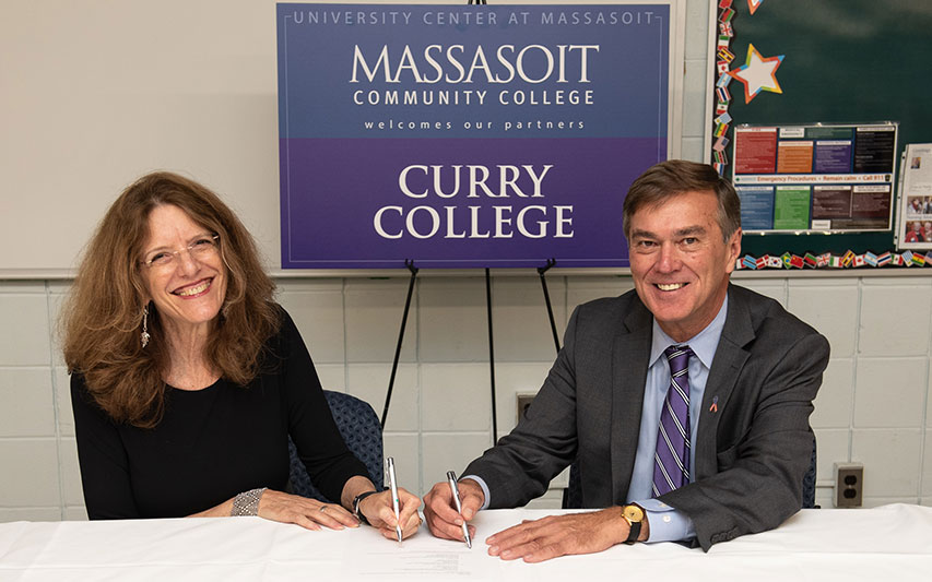 Massasoit President Dr. Gena Glickman and Curry College President Kenneth K. Quigley, Jr.