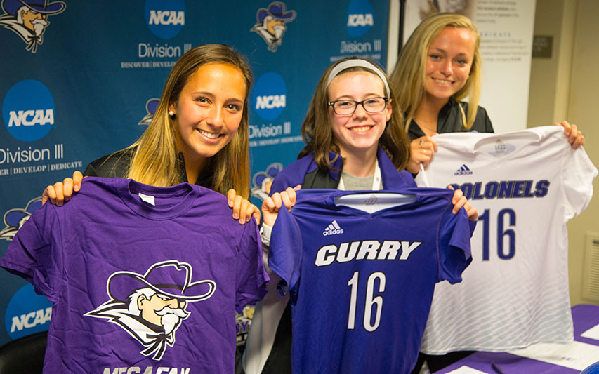 "The Curry Women's Soccer Team welcomed Emily Gallo to the Colonels family during a special ""Draft Day"" ceremony."