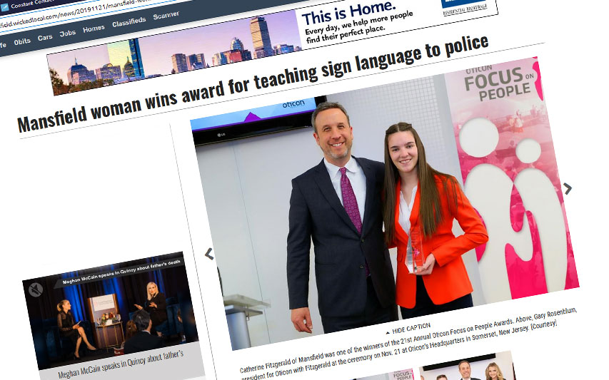 Criminal Justice Student Catherine Fitzgerald '23 Awarded for Teaching Sign Language to Police