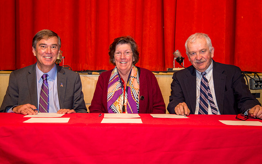 (Pictured left to right: Curry College President Kenneth K. Quigley, Jr., Superintendent of Milton Public Schools Mary Gormley, and Curry College Provost Dr. David Szczerbacki)