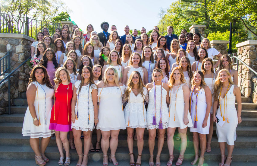 School of Nursing students pose for a group photo at the annual Nurses Pinning & Recognition Ceremony