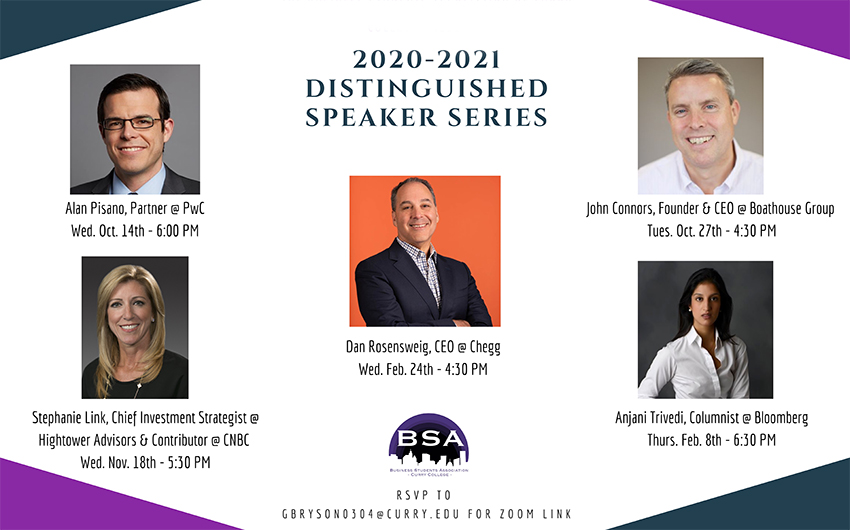 Business Student Association Announces 2020-2021 Distinguished Speaker Series