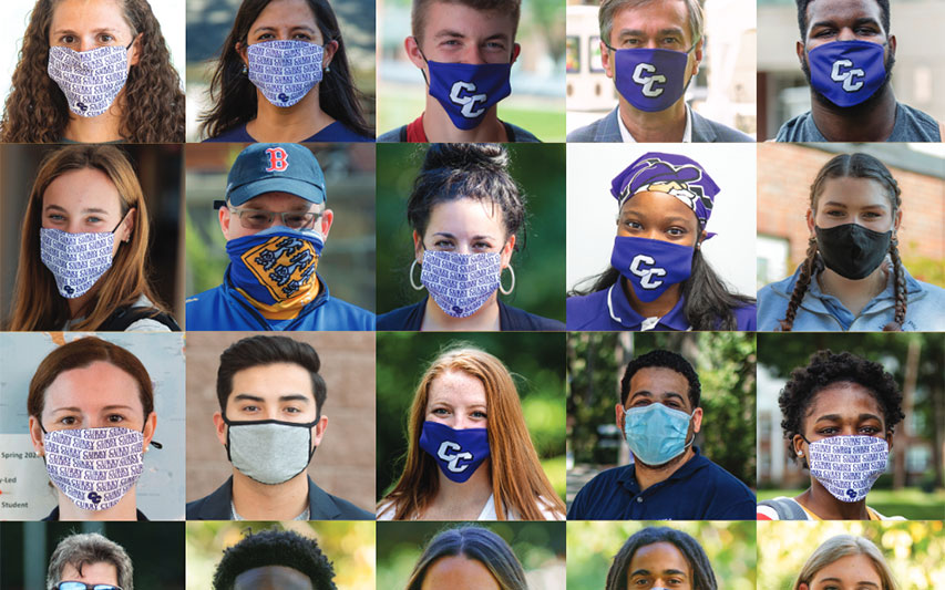 Curry Magazine Homepage collage of students in masks