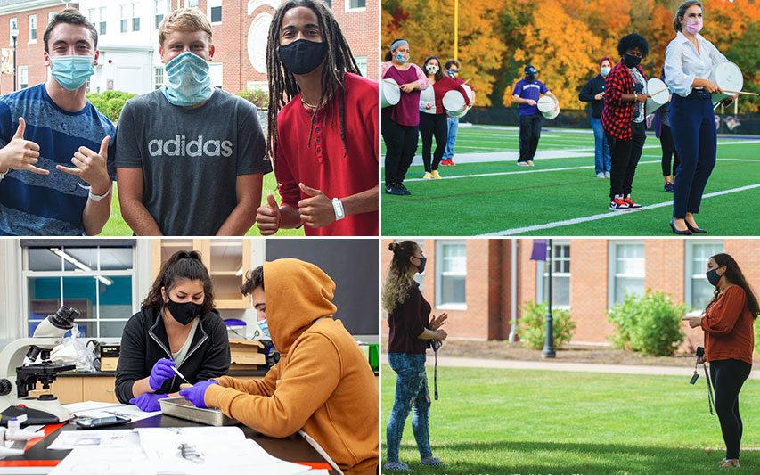 A collage of students socializing in masks on campus during COVID