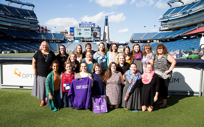 Education students at Gillette Stadium