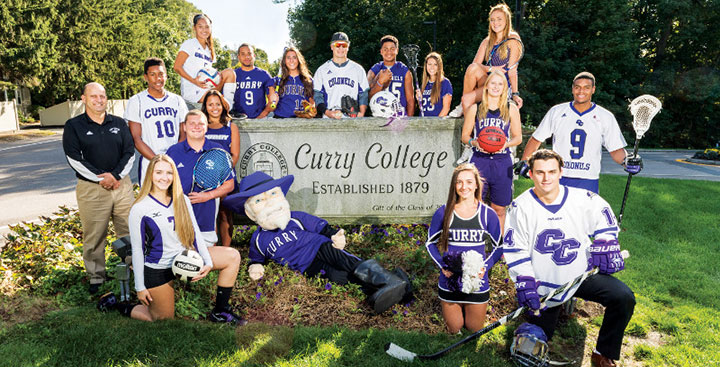 Student-Athletes gather at the Curry College front gate sign, representing each of the 14 NCAA Division III teams offered at the College.