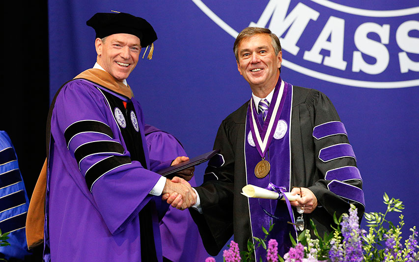 John Fish, Hon. '19 and Curry College President Kenneth K. Quigley, Jr,