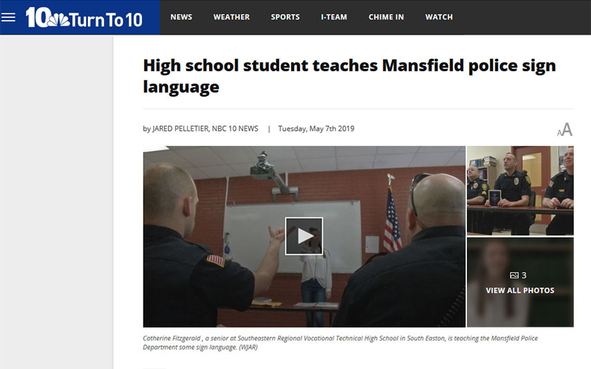 Curry College Incoming First-Year Student Teaches Sign Language to Mansfield Police Officers