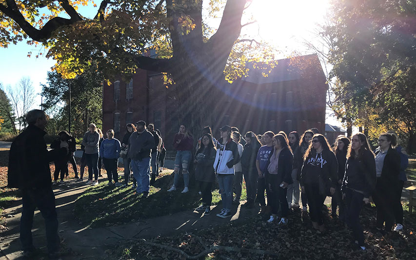 Psychology Professor, Dr. Elizabeth Carey recently led some 50 Psychology Club students on a visit to the Medfield State Hospital, originally the Medfield Insane Asylum.