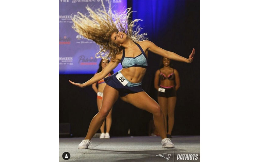 Kaitlyn Morris '18 during her tryout with the New England Patriots Cheerleading Squad