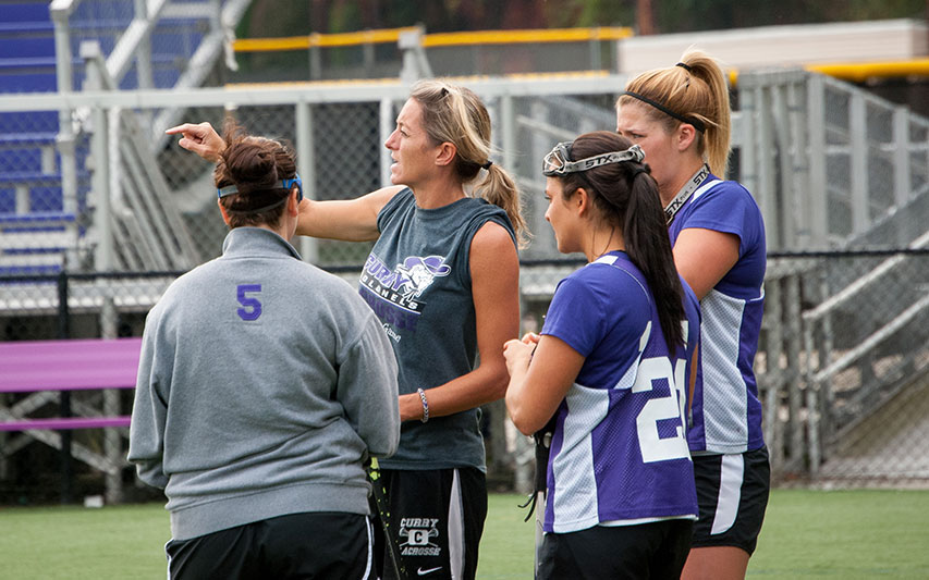 Caitlin Roberts instructs Women's Lacrosse student-athletes.