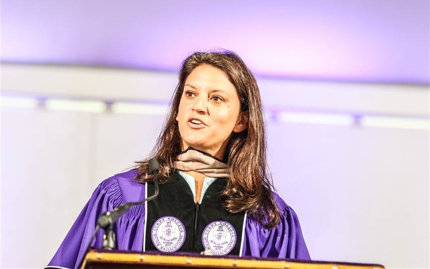 Social entrepreneur Dr. Navyn Salem, Hon. '18 delivers Commencement address.