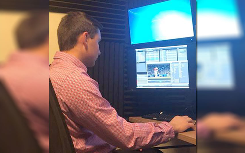 TJ Deinstadt, Class of 2019, logs clips and finds key plays for a documentary on the latest Red Sox season and World Series win.