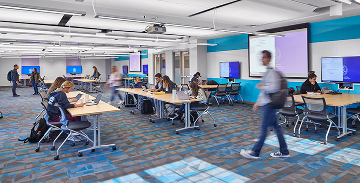 Students in the Curry College Learning Commons collaborative classroom