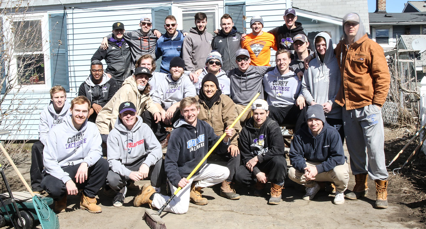 Curry College Colonels Lacrosse Team cleans up the community after a recent storm