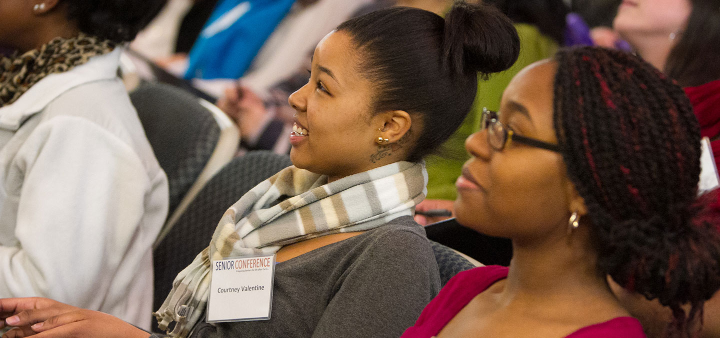 Students attend the Curry College Center for Career Development Senior Conference event