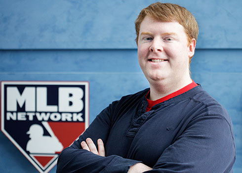 A Curry College Student interning at MLB Network