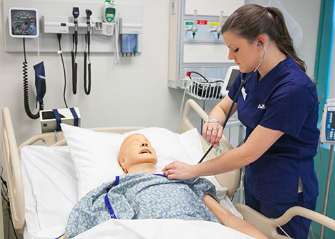 Curry College Master of Education (M.Ed.) student checks vitals of a SIM patient