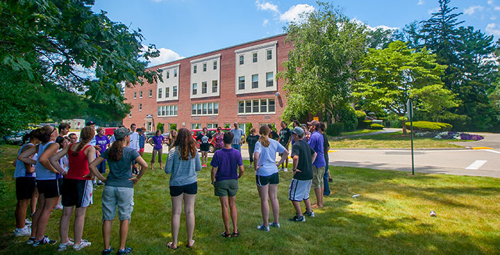 Students in the Program for Advancement of Learning (PAL) participate in a Summer PAL group activity outside the Kennedy building