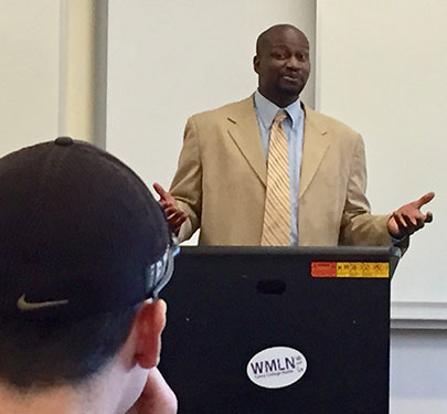 A. Sherrod Blakely, of NBC Sports Boston, is a regular visitor to Curry's campus to speak with students in the multimedia sports journalism program.