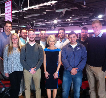 Curry College sports media students spent some time with longtime football broadcast journalist Andrea Kremer.