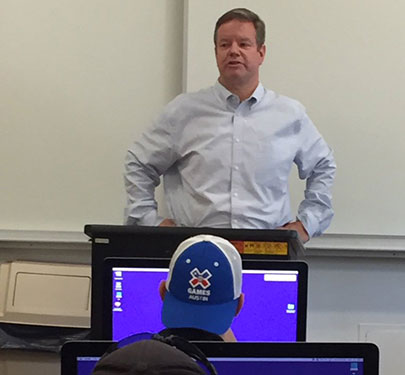 Boston Globe high school sports editor Craig Larson, an alumnus of Curry College, often returns to campus to speak to sports journalism students.