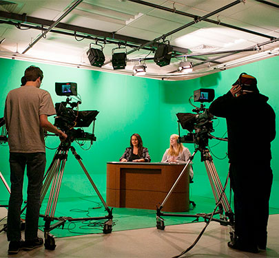 Curry College students run the CC8 TV studio