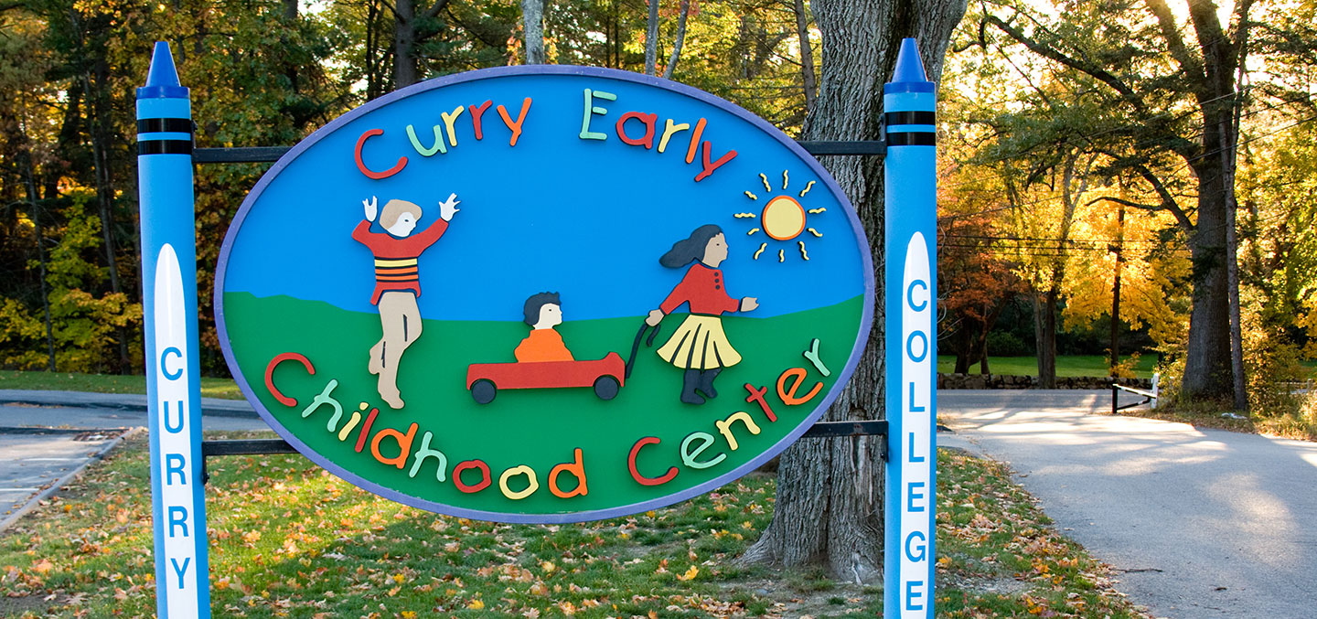 Curry College Early Childhood Center welcome sign