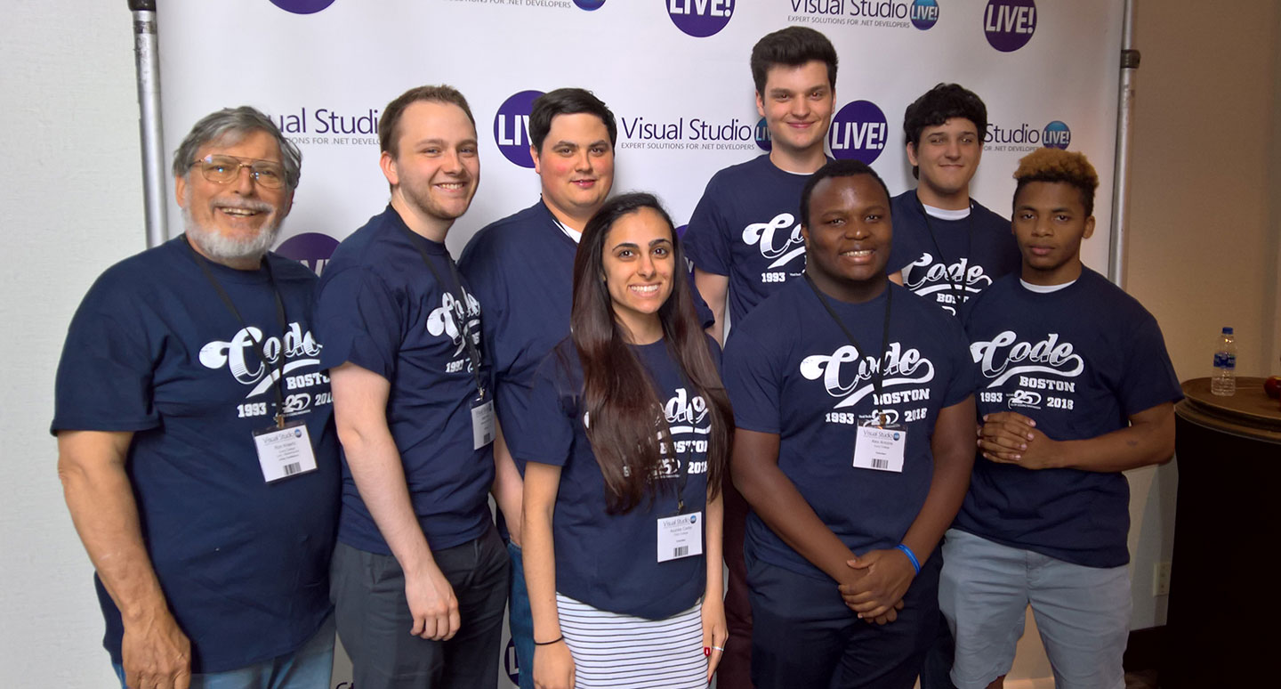 Software Development majors Acursia Carbo, Alex Antoine, Cam Gibbons, Justin Sowden, and Marcel Mensah were joined by Curry alumni Matthew Gallagher '18, Keith Fitts '17, and Sara Morley '17 and Curry Professor Ron Krawitz at Visual Studio Live.