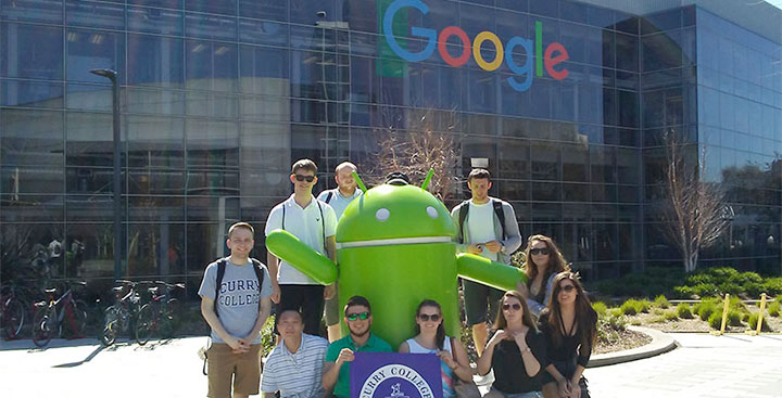 Students pursuing an Information Technology degree at Curry College visit the Google campus in Silicon Valley