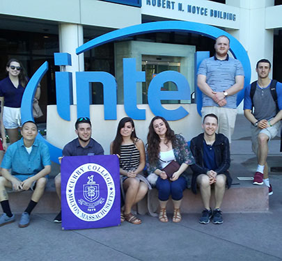 Curry College students outside of Intel in Silicon Valley