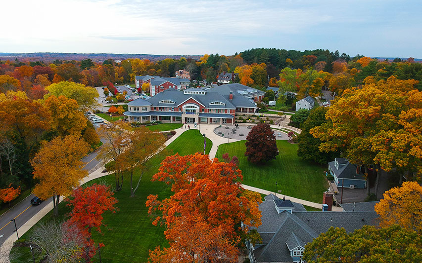Curry College campus in fall