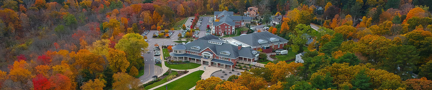 Apply to Curry College - fall campus photo from above