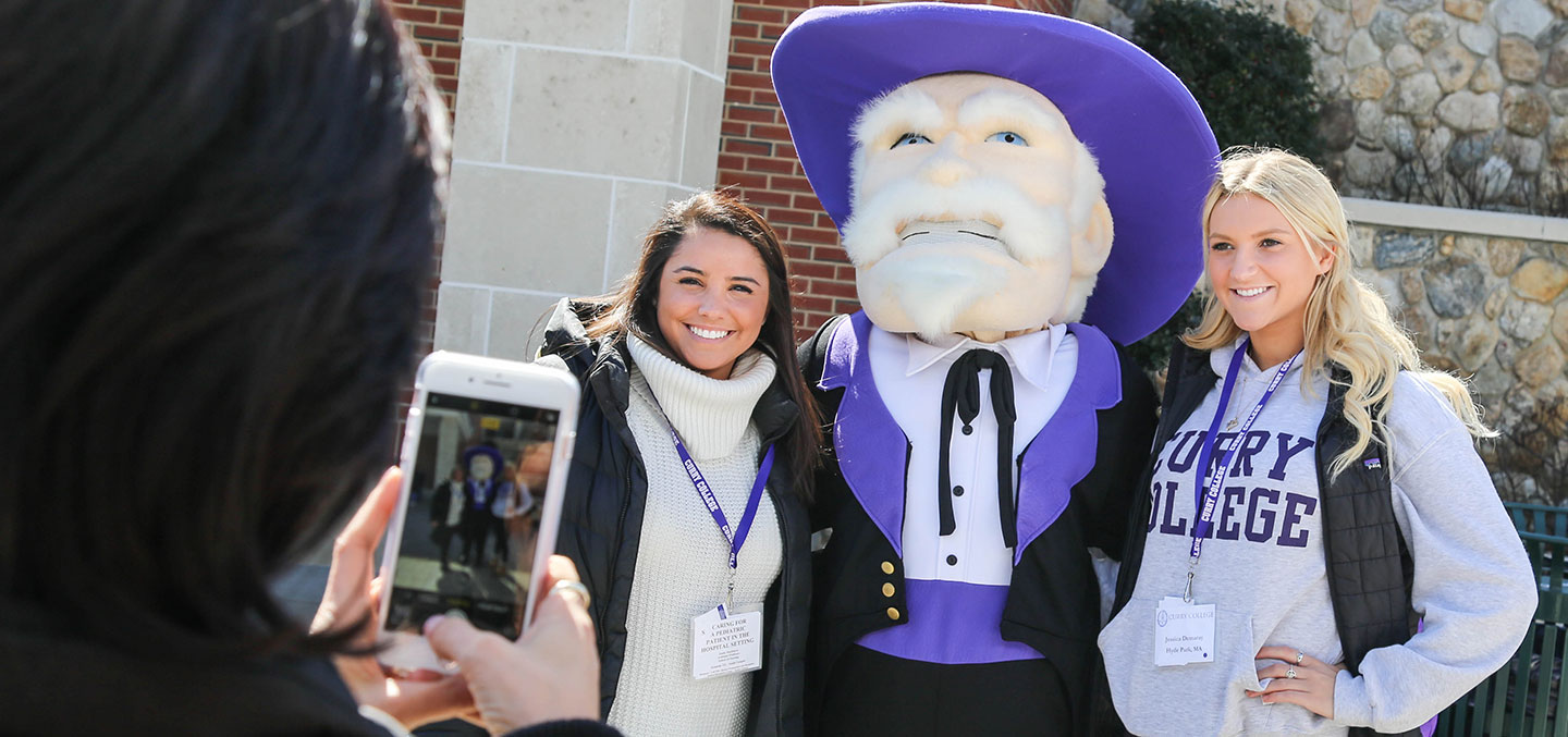 Curry College Accepted Student Day where students take a photo with the Colonel
