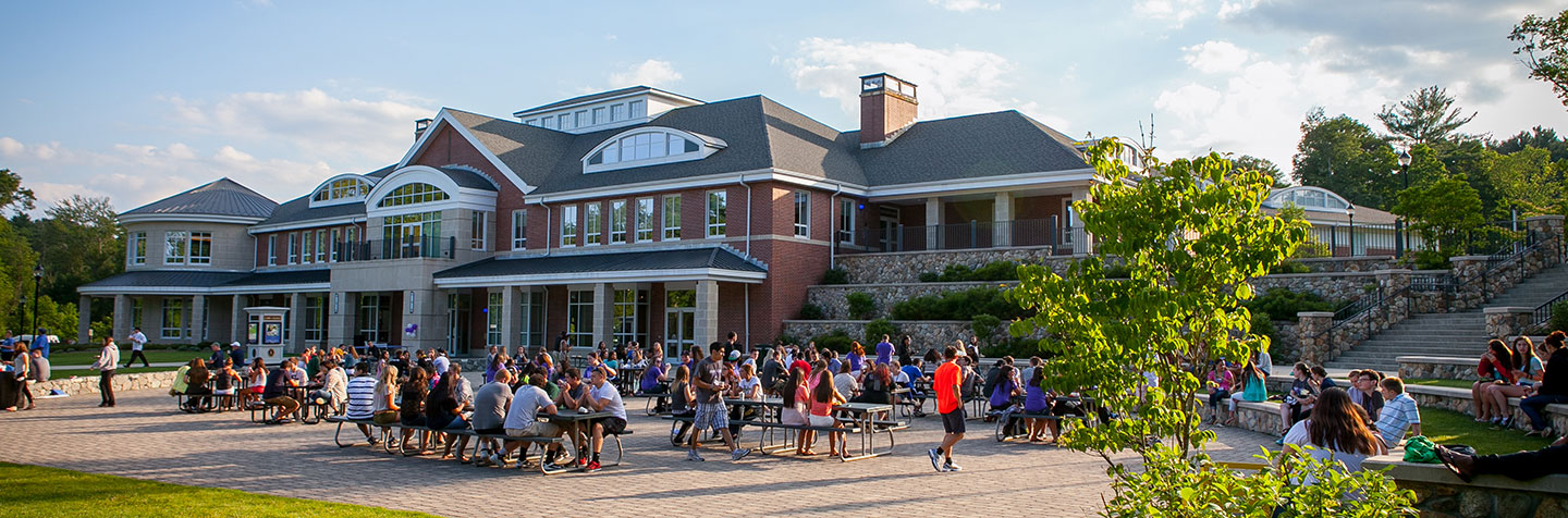 Students gather outside the Student Center during Discover Curry Days at Curry College