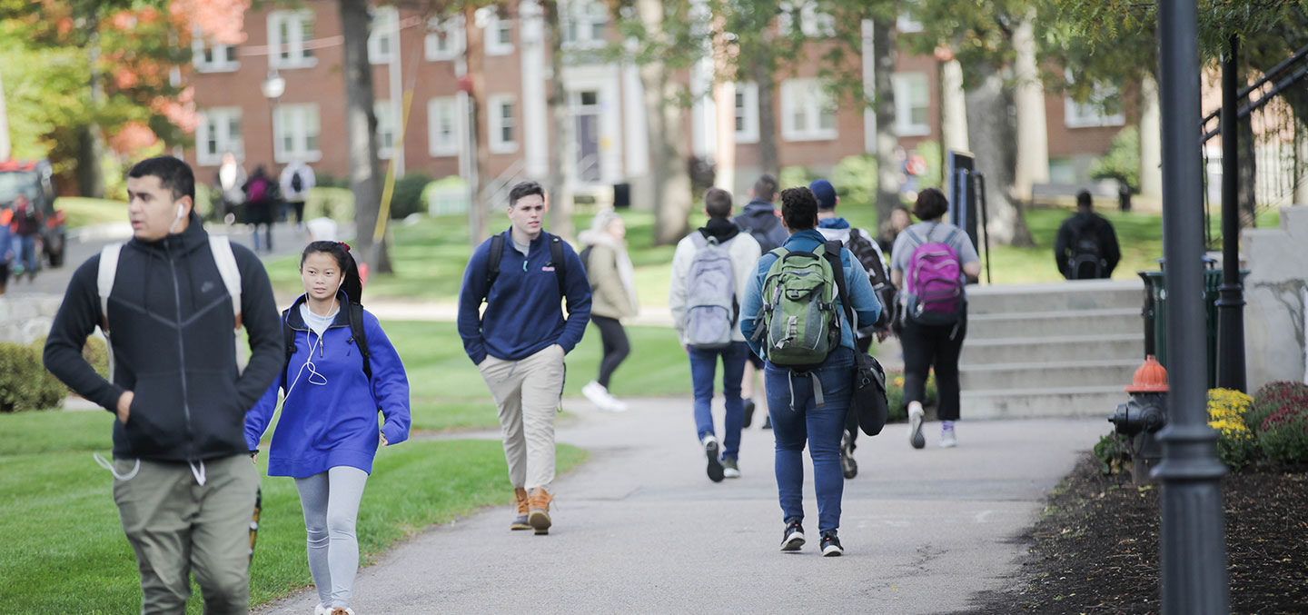 Curry College Students walking on campus representing Preview Curry Day