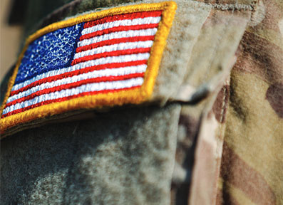American Flag patch on military uniform