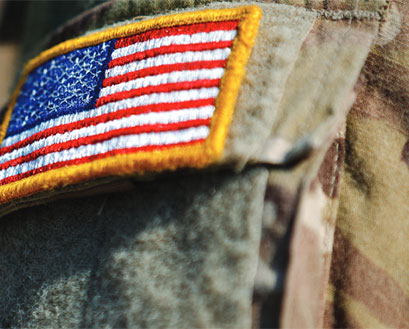 American flag on a military uniform