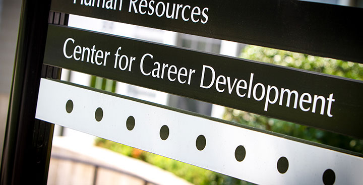 The Curry College Center for Career Development sign