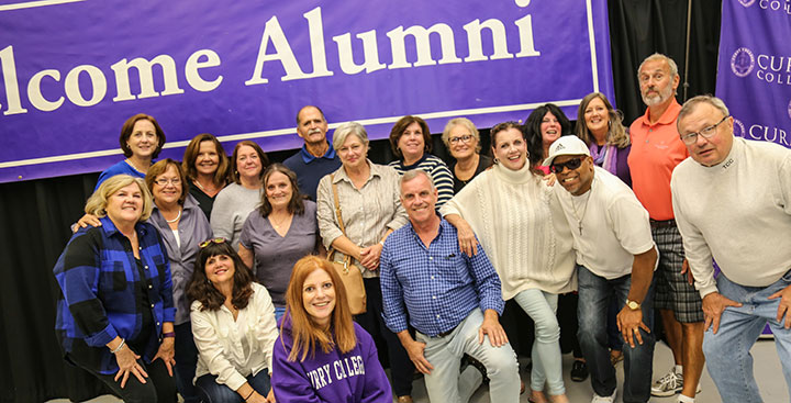 Curry College Alumni attend a class reunion during Homecoming and Family Weekend