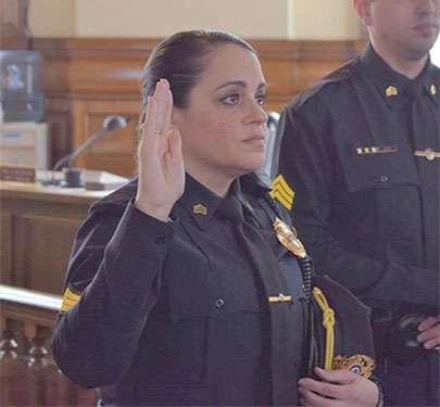 Brenda Perez '04 recently made history in the Brockton Police Department. She was officially sworn in as the first female police lieutenant in the summer of 2020.