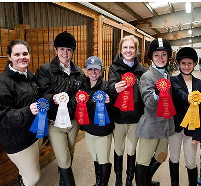 Equestrian Club members display their ribbons