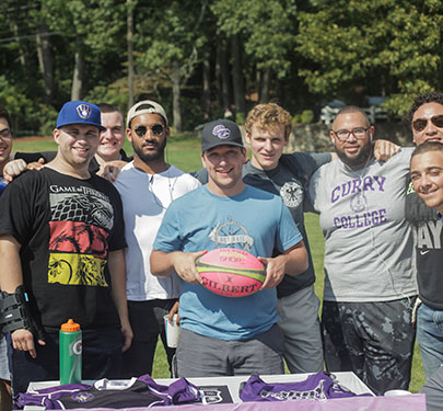 Rugby players at the Student Involvement Fair