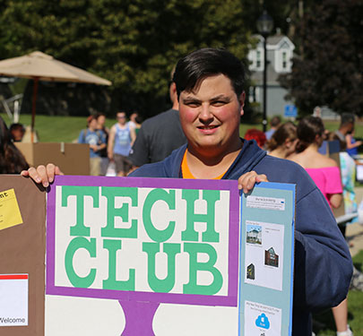 Tech Club member at the Student Involvement Fair