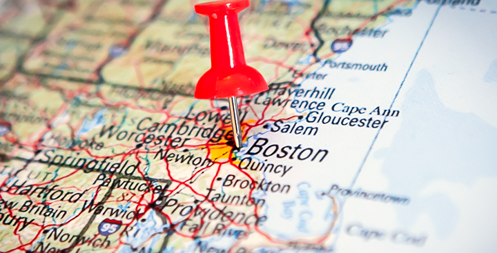 Map with red pushpin on Curry College's location