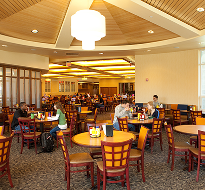 Students dine together in the Marketplace's dining room