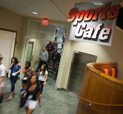 Students walk by the Sports Cafe